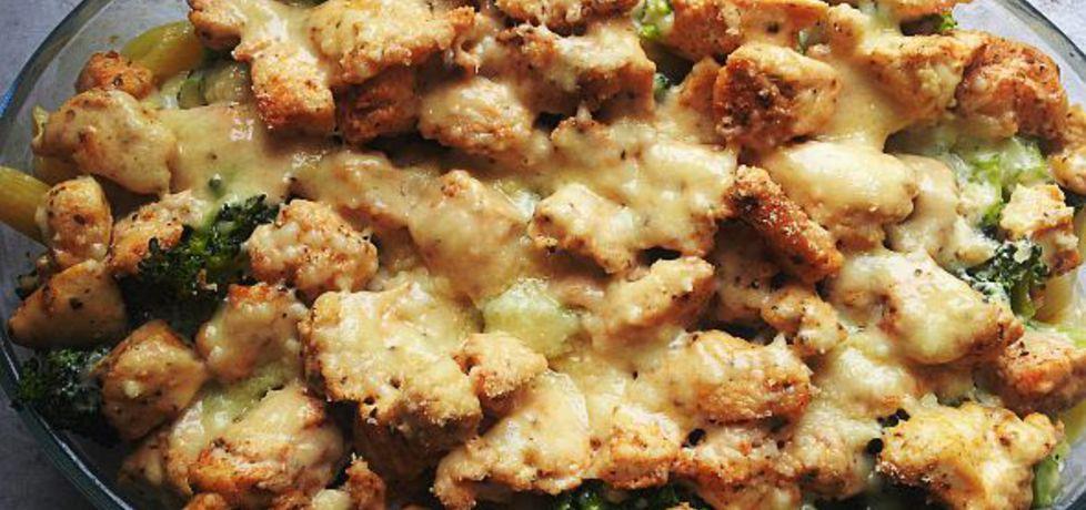 Zapiekanka z penne, kurczakiem i brokułami w sosie śmietanowo ...