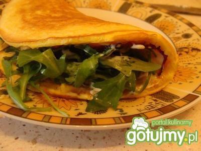 Przepis  omlet z rukolą i boczkiem przepis