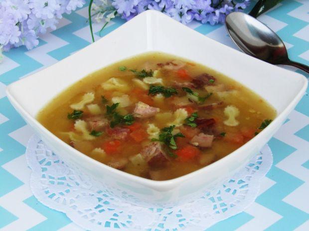Przepis  zupa grochowa z makaronem i wędliną przepis