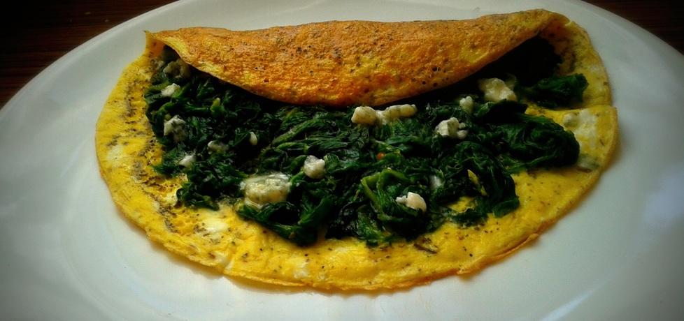 Omlet ze szpinakiem i serem pleśniowym (autor: pyszota ...