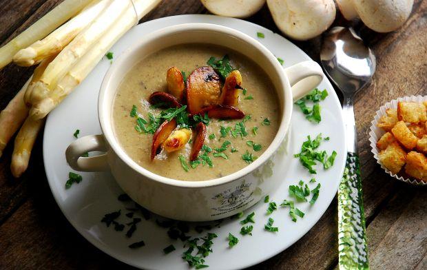Przepis  zupa  krem szparagowo- pieczarkowy przepis