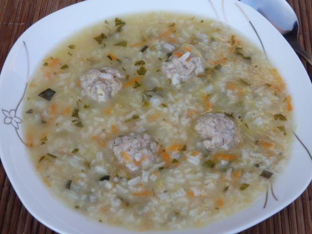 Przepis  zupa ogórkowa z ryżem i pulpecikami przepis