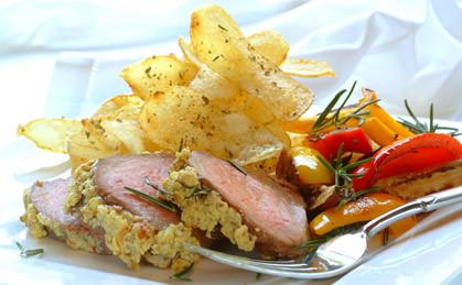 Polędwica wołowa z chrupiącymi ziemniakami