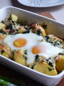 Zapiekane ziemniaki ze szpinakiem i serem