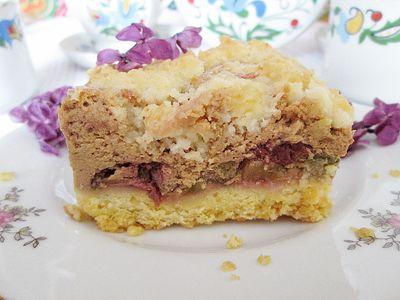 Ciasto styropian kajmakowy z rabarbarem, wiśniami i kokosową ...