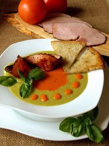 Zupa o dwu smakach z karmelizowaną szynką