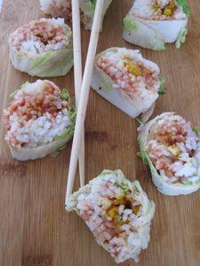 Roladki ala sushi w kapuście pekińskiej