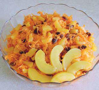 Z brzoskwiniami i marchewką
