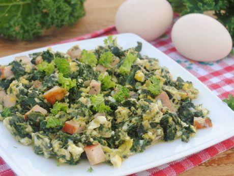 Przepis  jajecznica z jarmużem przepis
