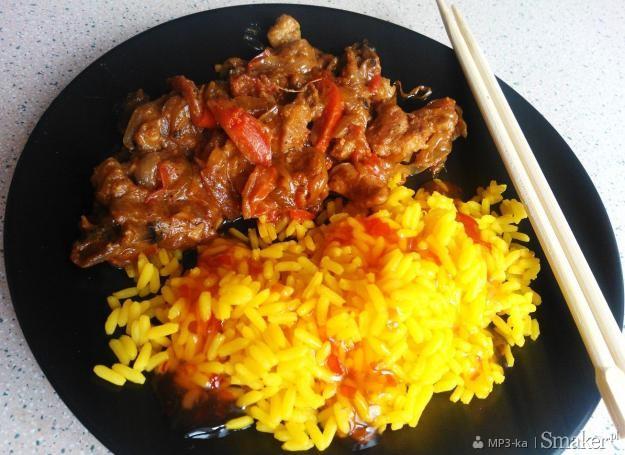 Wieprzowina z pastą miso i żółtym ryżem