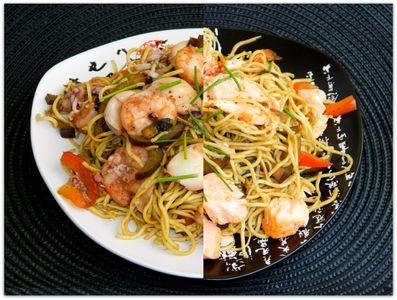 Chow mein z owocami morza i łososiem