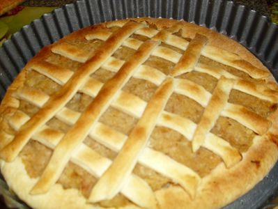Tarta z jabłkami i płatkami owsianymi