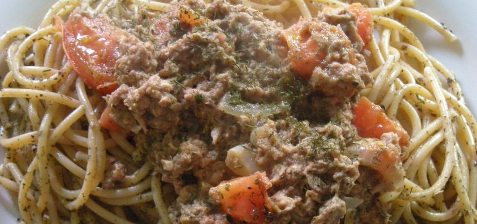 Makaron pełnoziarnisty z pomidorem i tuńczykiem (autor: chojlowna ...