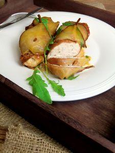 Piersi z kurczaka z karmelizowaną gruszką i serem lazur ...