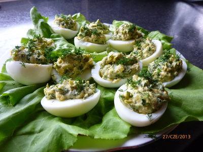 Faszerowane jajka ze szpinakiem