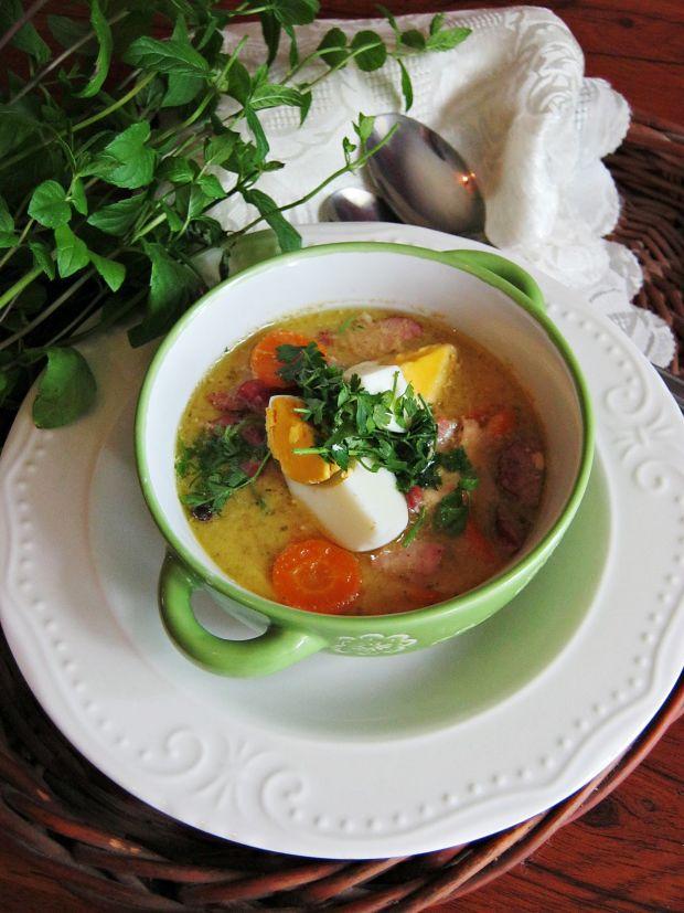 Przepis  zupa chrzanowa z jajkiem i kiełbasą przepis