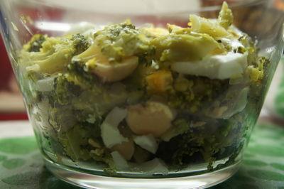 Sałatka z brokułami i jajkiem, sosem czosnkowym