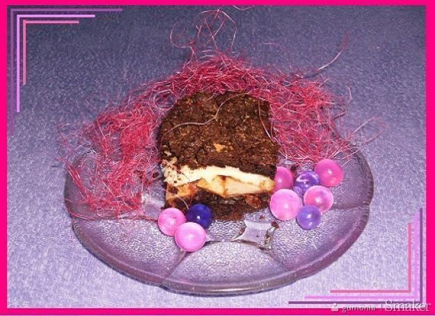 Ciasto czekoladowe z szarlotkowymi jabłkami i budyniem