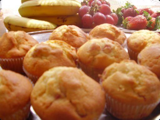 Przepis  muffinki truskawkowo-bananowe przepis