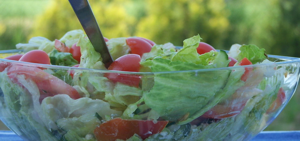 Szybka sałatka do grilla, czyli lodowa z ogórkiem i pomidorem ...