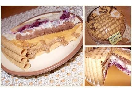 Tort śmietankowo  kajmakowy z gruszką