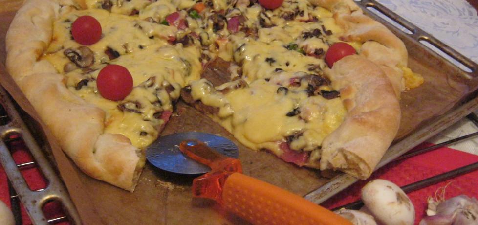 Pizza z salami i warzywami z ryżem (autor: violetowekucharzenie ...