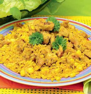 Ryż z kurczakiem i kukurydzą