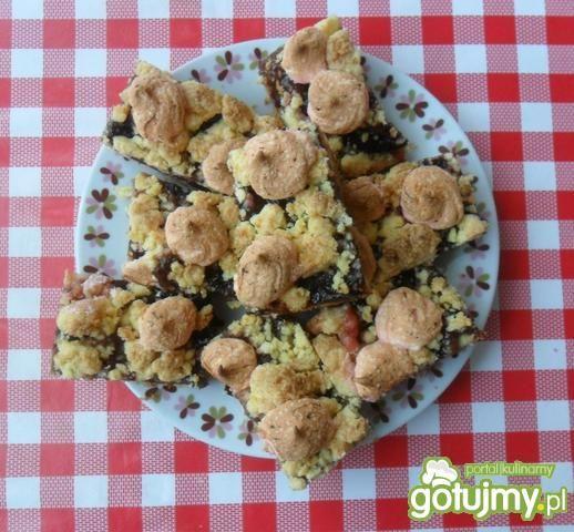 Przepis  kruche ciasto ze śliwkami z pianką przepis