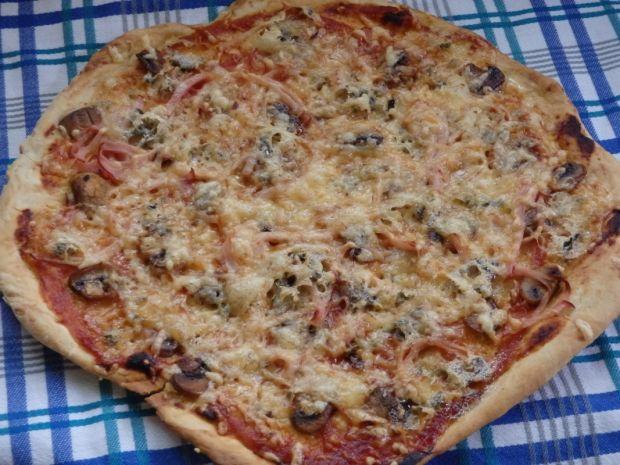 Przepis  pizza z pieczarkami i serem pleśniowym przepis