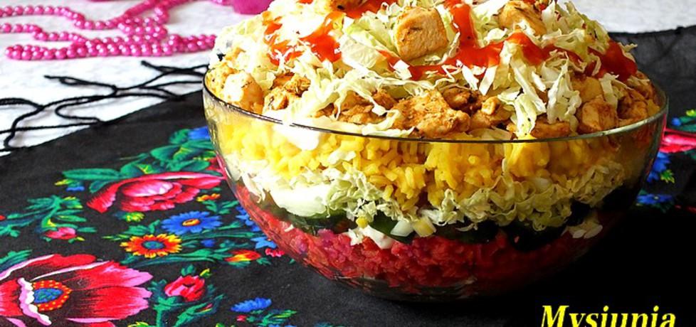 Warstwowa sałatka z barwionym ryżem (autor: mysiunia ...