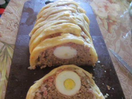 Przepis  klops pieczony z jajkami przepis