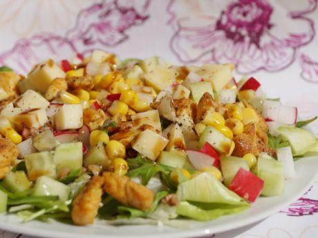Przepis  sałatka wiosenna z kaszą i kurczakiem przepis
