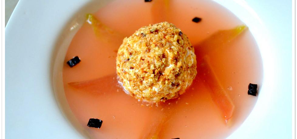 Wykwintna zupa rabarbarowa z lodami w migdałowym krokancie ...