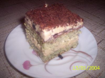 Ciasto kokosowo makowe z kajmakowym kremem z dodatkiem rumu